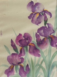 Watercolor painting of irises on silk