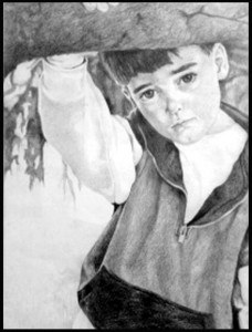 Timothy, pencil, ©2013 Ellen Elfo Kazar